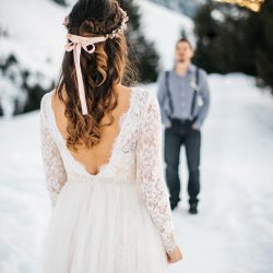 Beautiful Maira wearing Noya Bridal to her Winter Wonderland Wedding