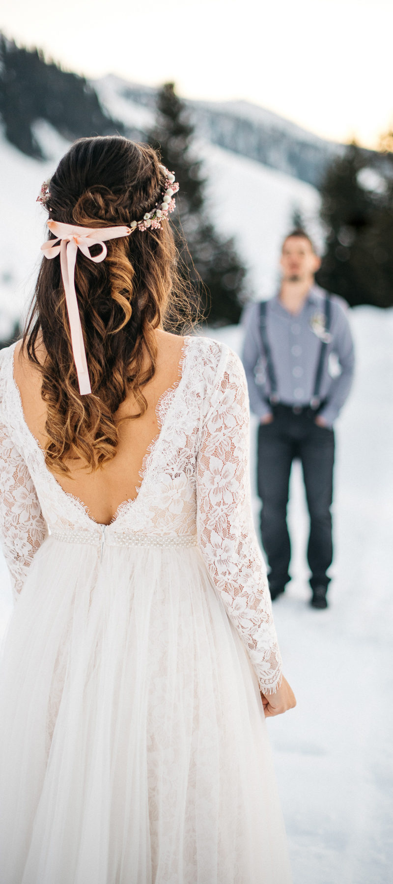 Beautiful Maira wearing Noya Bridal to her Winter Wonderland Wedding